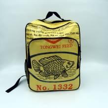 Rucksack aus recycelten Zementsäcken - Fisch gelb-schwarz