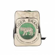 Rucksack aus recycelten Zementsäcken - Tiger beige-grün