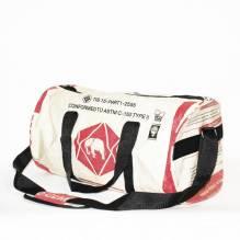 Sporttasche / Tragetasche (L) aus recycelten Zementsäcken - Elefant rot-beige