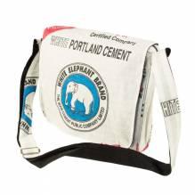 Umhängetasche / Schultertasche (messenger bag) aus recycelten Zementsäcken - Elefant weiß-blau