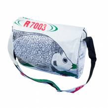 Umhängetasche / Schultertasche (messenger bag) aus recycelten Zementsäcken - Fisch weiß-grün