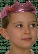 Krone aus rosa glanzendem Stoff