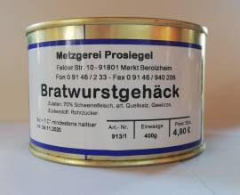 Fleischkonserven BIO Metzgerei Prosiegel