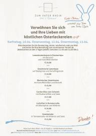 Lebensmittel Ostern Zum Vater Rhein