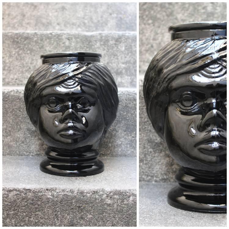 Ubertopf Pflanztopf Pflanzen Bubikopf Gesicht Vintage Retro