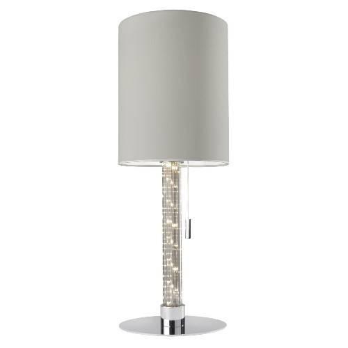 Sompex Runde Tischleuchte mit LED Lichtsäule Single Stoff Weiß ...