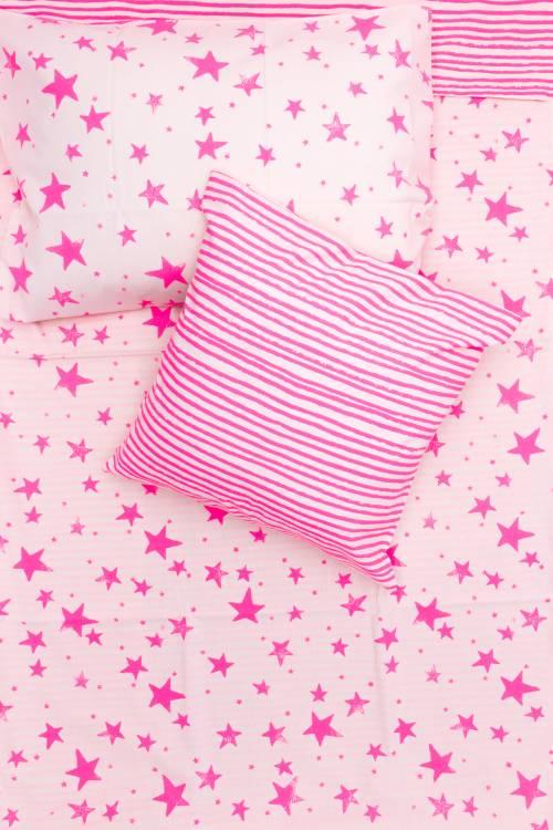Noé Zoë Berlin Baby Bettwäsche Sterne Streifen Neon Pink 100 X