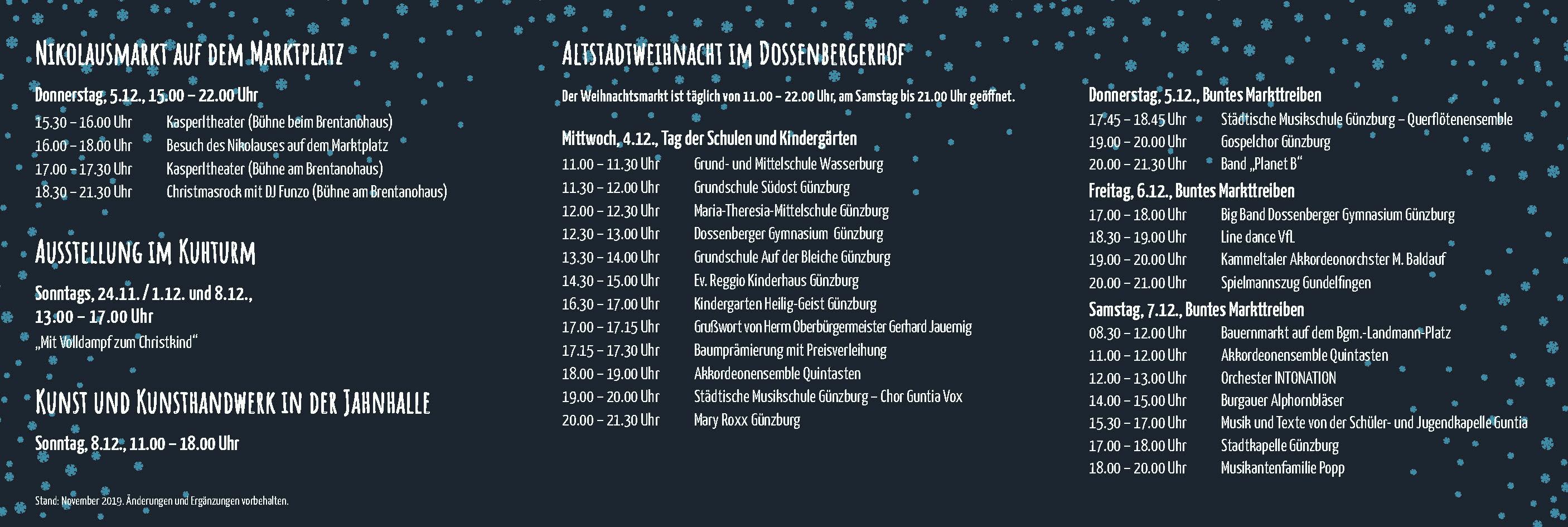 Günzburg Weihnachtsaktionen 2019: Das Programm
