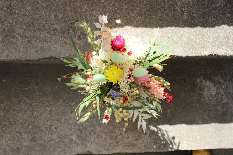 1 kleines Sträußchen / Trockenblumen weiß oder bunt