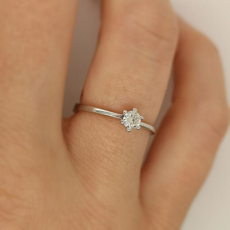 Damenring, Solitaire, Verlobungsring, Weißgold 585, Brillant 0,20ct