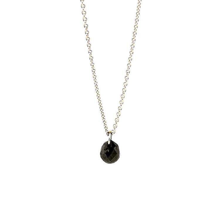 Weißgoldkette mit schwarzem Diamantbriolette, tropfenförmiger Diamant schwarz