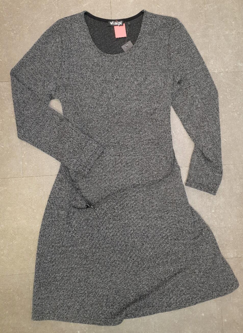 vi ai pi damenmode kleid langarm knielang grau strukturiert mit  rundhalsausschnitt 4217248000 erhältlich bei mode schönleitner in gmunden