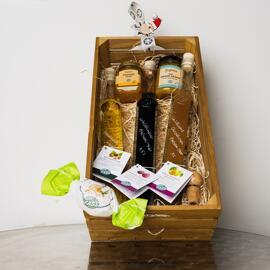 Gefüllte Körbe Geschenksets Essig Süßigkeiten & Schokolade Speiseöle Delikatessen Präsentkörbe Senf Essig vomFASS