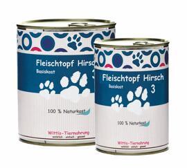 Hundefutter Wittis Reinfleischdose Hund - Hirsch pur