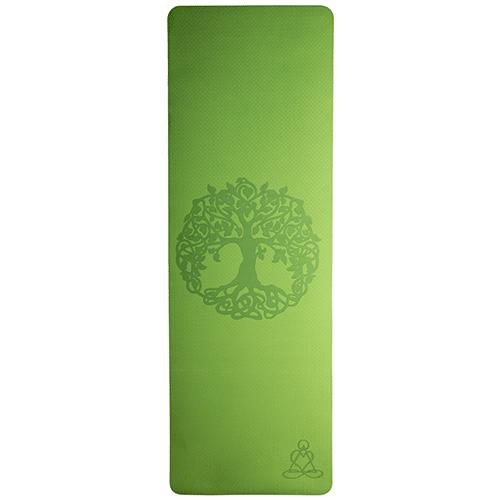 Tapis de yoga - vert/gris 6mm double couche, arbre de vie