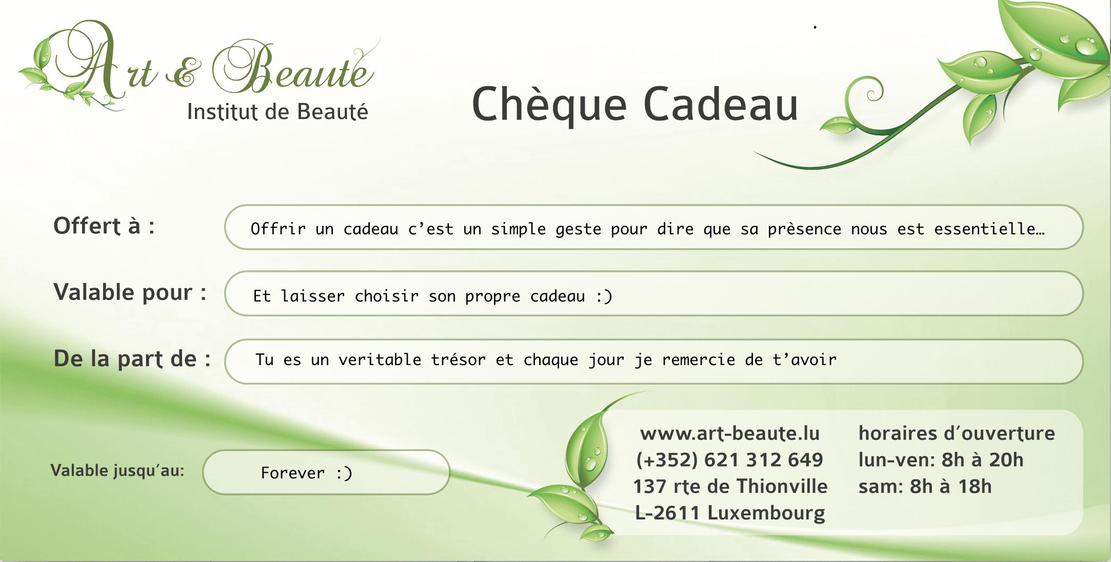 Chèque Cadeau Art et Beauté