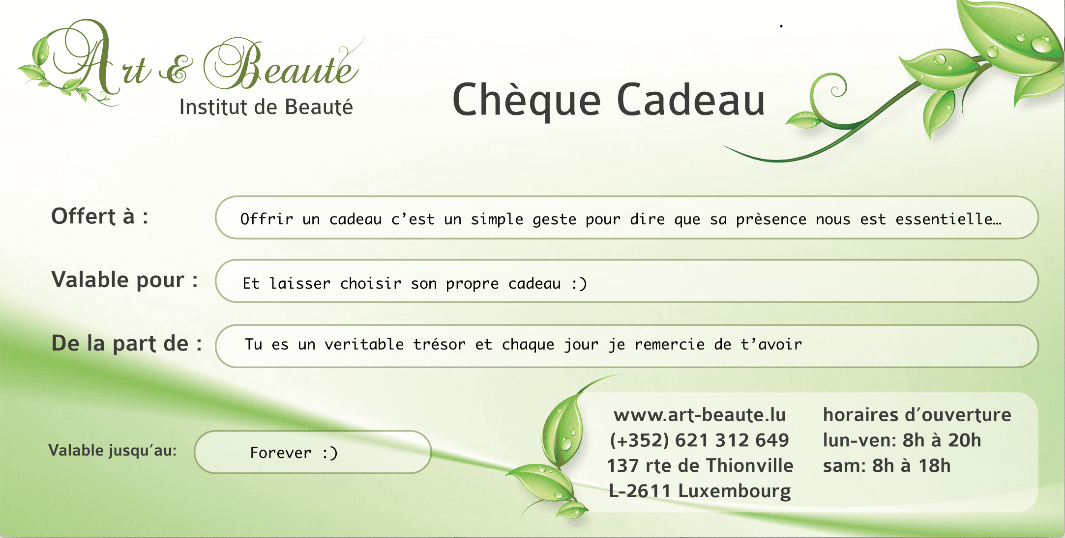 chèque Cadeau Art et Beaute
