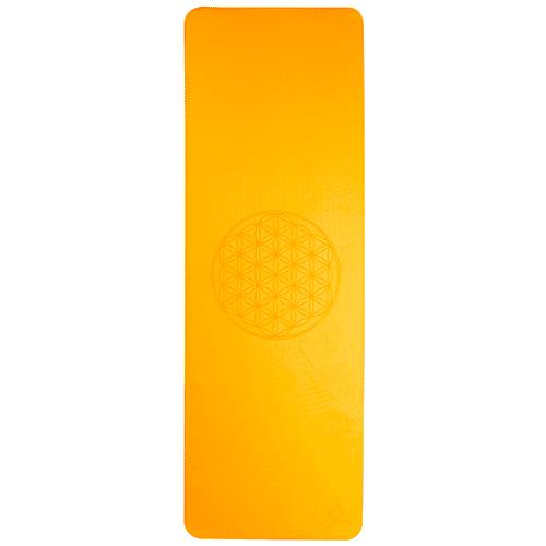 Tapis de yoga - orange/gris 6mm double couche, fleur de vie