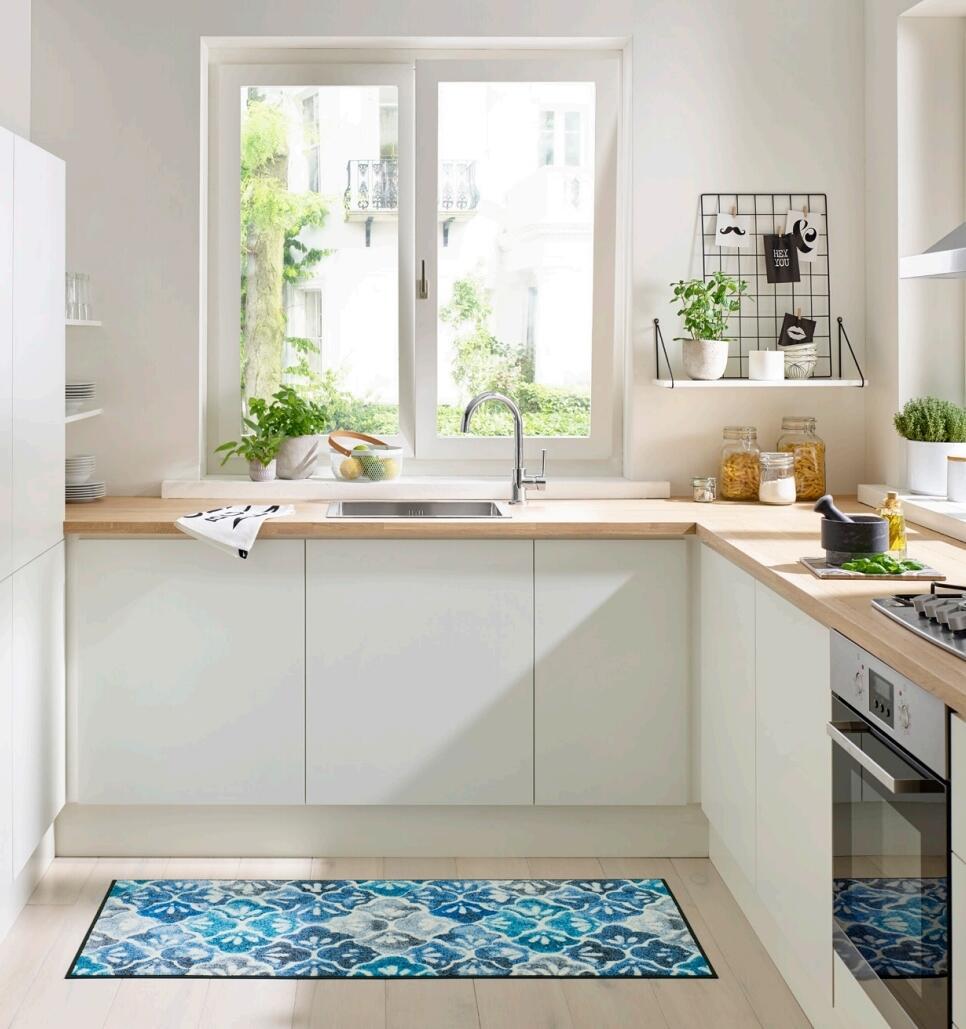 Teppich Läufer Küche Flur Blue Ground