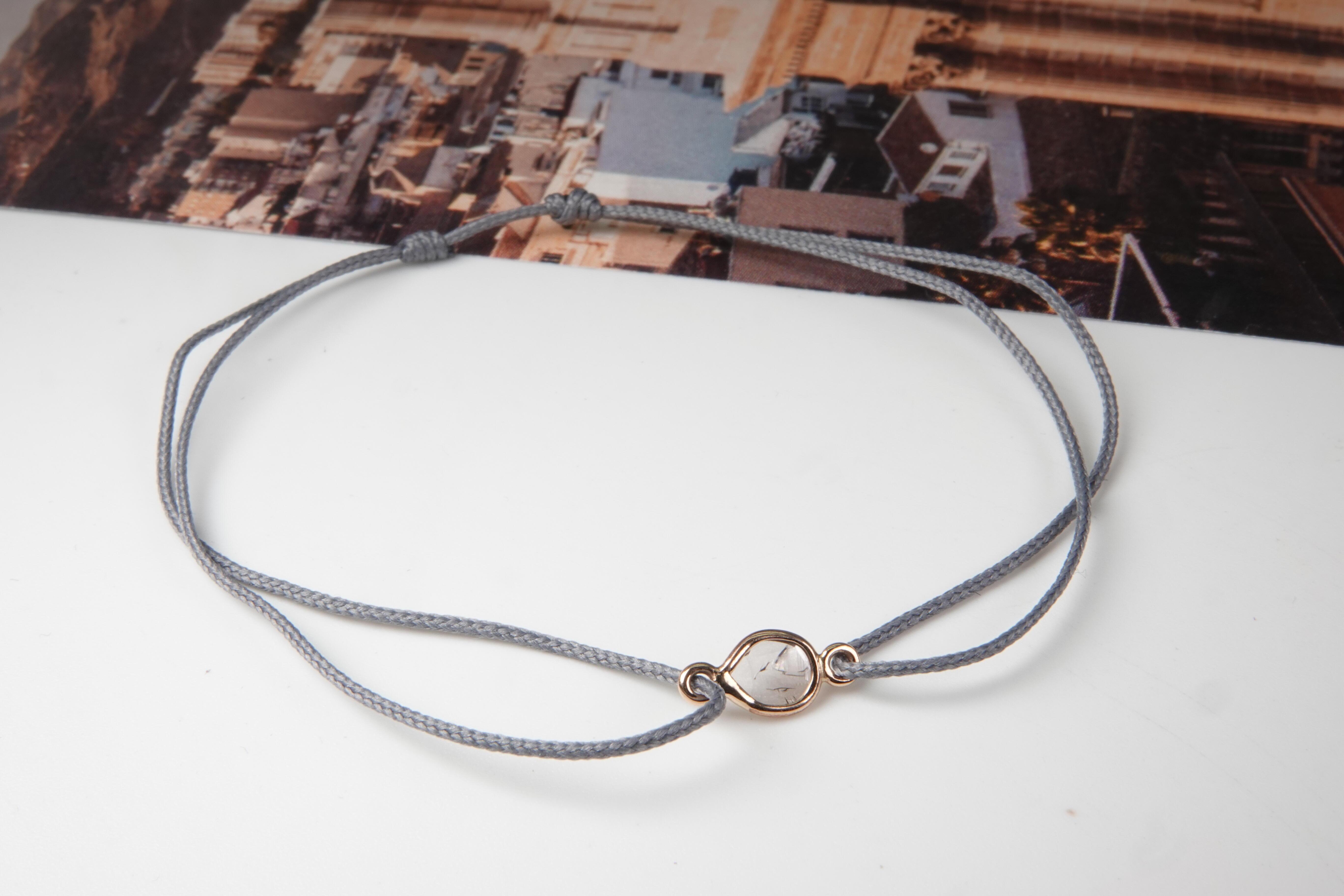 """Bracelet en diamant """"Rosecut"""" avec cordon gris ajustable"""