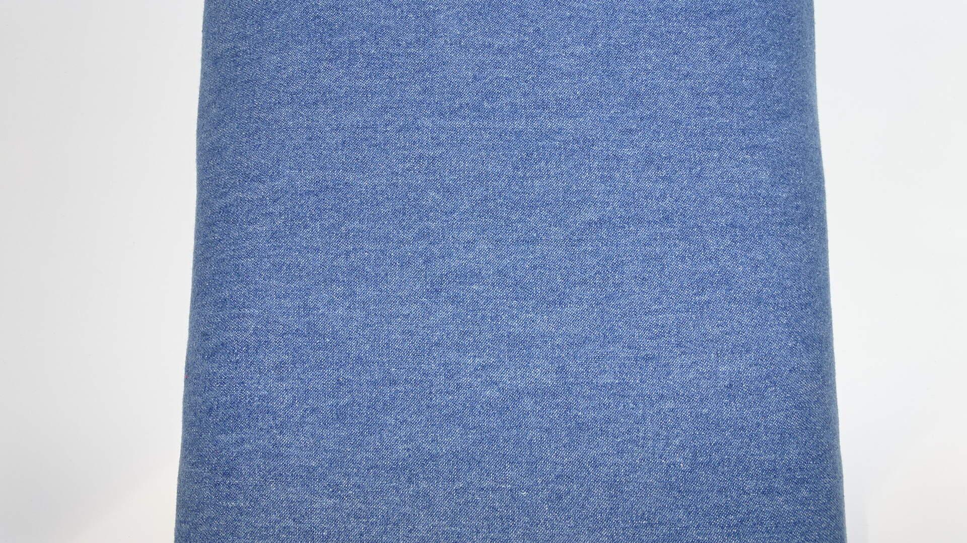 Baumwollstoff Dekostoff Denim Karo hellblau ab 50 cm
