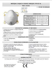 Masques anti-poussière SUPAIR