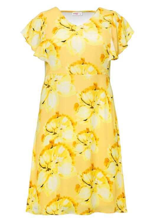Abendkleid mit vollem Blumendruck Gelb