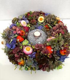 Trockenblumen Windlichter Atelier créatif Petra