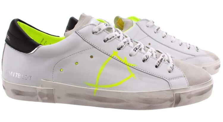 PHILIPPE MODEL Damenschuhe PRSX - WHITE YELLOW VEAL