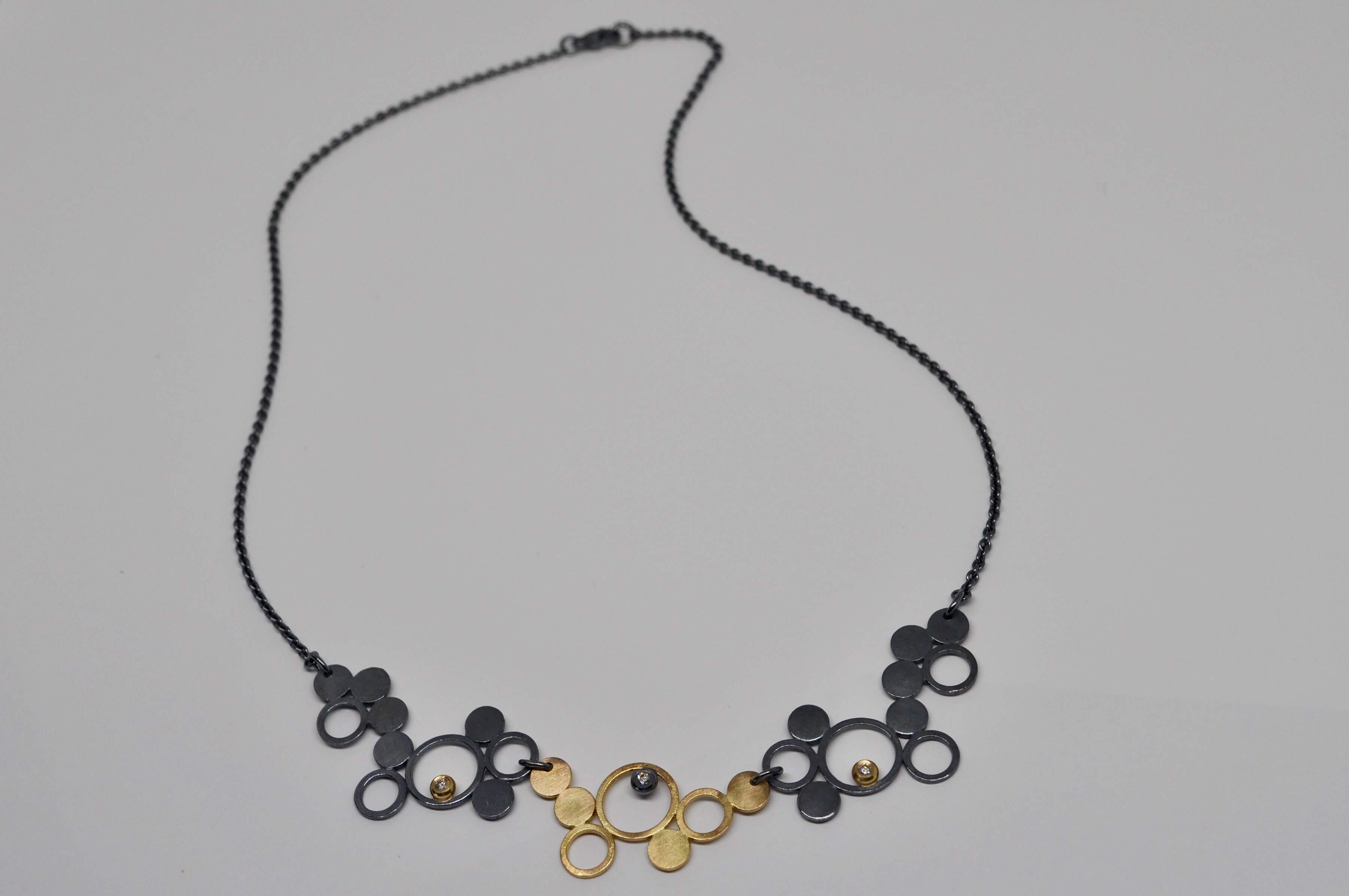 Collier 3 pièces, argent sterling oxydé, or jaune 18 carats, diamants