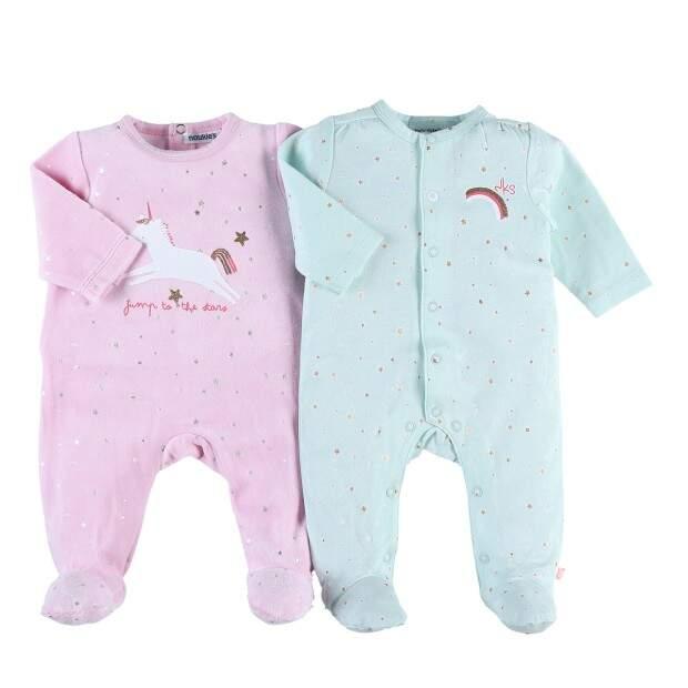 Set de 2 pyjamas dors-bien en velours glitter motif Licorne NOUKIES du 1 mois au 18 mois ref:137371