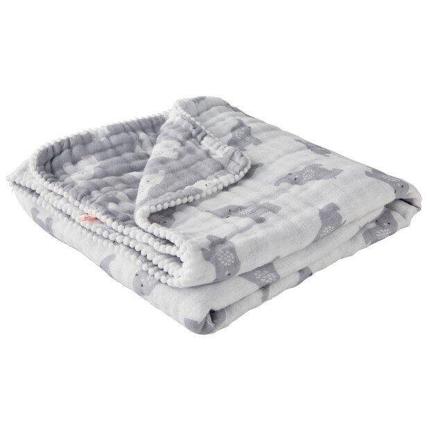 Couverture Mousseline BIO éléphant gris Gris 75x100cm noukies