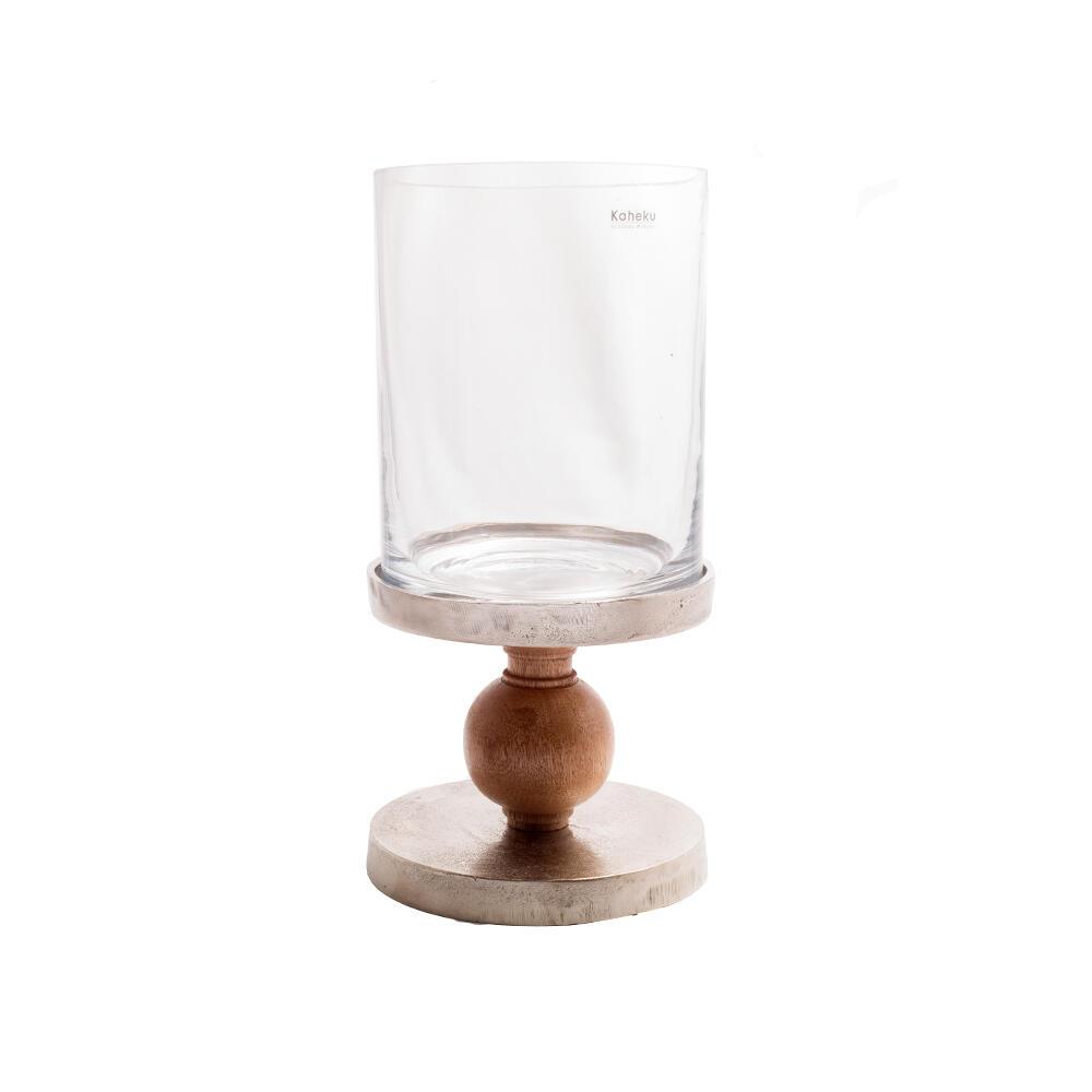 Bougeoir lanterne bois et verre
